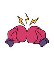 boxing gloves punch cartoon art sticker template vector image vector image