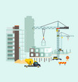 building work process with houses and construction vector image vector image