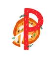 capital letter p childish english alphabet vector image