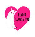 cartoon card sweet llama doodle vector image vector image