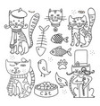 cats line doodle set 2 vector image vector image