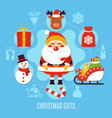 christmas gifts flat composition vector image