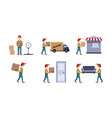 courier or delivery men set workers delivering vector image vector image
