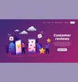 customers feedback trendy concept with cartoon vector image vector image
