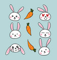 cute rabbit cartoon with carrots vector image