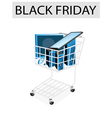 Desktop Computer in Black Friday Shopping Cart vector image vector image