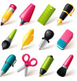 Drawing and Writing tools icon set vector image vector image