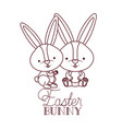 easter bunny label isolated icon vector image vector image