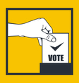 Election - hand throws vote bulletin into box vector image vector image