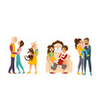 family members happy and hugging each other vector image