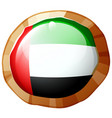 flag of arab emirates on round badge vector image vector image