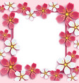 frame with pink white 3d sakura vector image vector image