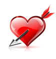 Glossy heart pierced by an arrow vector image