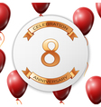 Golden number eight years anniversary celebration vector image vector image