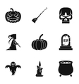 Halloween holiday icons set simple style vector image vector image