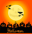 Halloween night background with pumpkins
