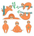 hand drawn sloths set vector image