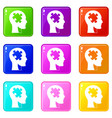 head with puzzle icons 9 set vector image vector image