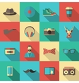 Hipster Flat Icon Set vector image vector image