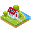 isometric eco-house with solar cells vector image