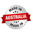 made in Australia silver badge with red ribbon vector image vector image