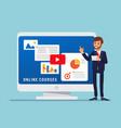 online courses businessman standing beside big vector image vector image