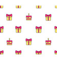 pattern with gift boxes and birthday cake vector image