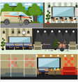 radio broadcast interior concept flat vector image vector image