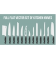 Set flat icons of kitchen knives isolated on white vector image
