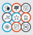 set of 9 ecology icons includes sea star bonfire vector image vector image