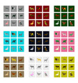 set of in flat style animals vector image vector image