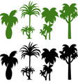 set of silhouette palm tree vector image vector image