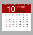 simple desk calendar for october 2020 vector image