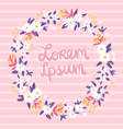 Romantic floral frame on a pink stripped vector image