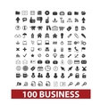 100 business and office icons signs set vector image