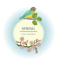 Card with tit on a branch and cherry flowers vector image