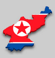 3d isometric map north korea with national flag vector image vector image