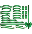 a set of assorted green ribbons vector image vector image