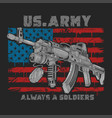 america usa army machine gun with usa flag grunge vector image