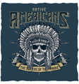 american indian chief skull with tomahawk vector image vector image