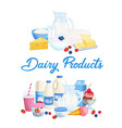 banners dairy products vector image