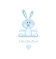 blue love rabbit vector image vector image