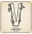 Calligraphic font Letter V vector image vector image