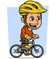 cartoon brunette boy character riding on bicycle vector image vector image