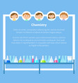 chemistry lessons at school pupils and text sample vector image vector image