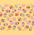 cupcakes pattern yellow vector image