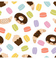 cute seamless pattern with french macaroons vector image vector image