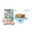 drone delivery service with paper map icon vector image vector image