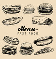 fast food menu in burgers hot dogs vector image vector image