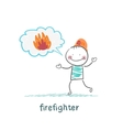 firefighter thinks about fire vector image vector image